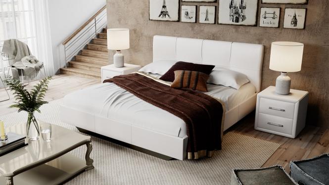 Кровать мягкая тип 1 «Элис» светлый кожзам